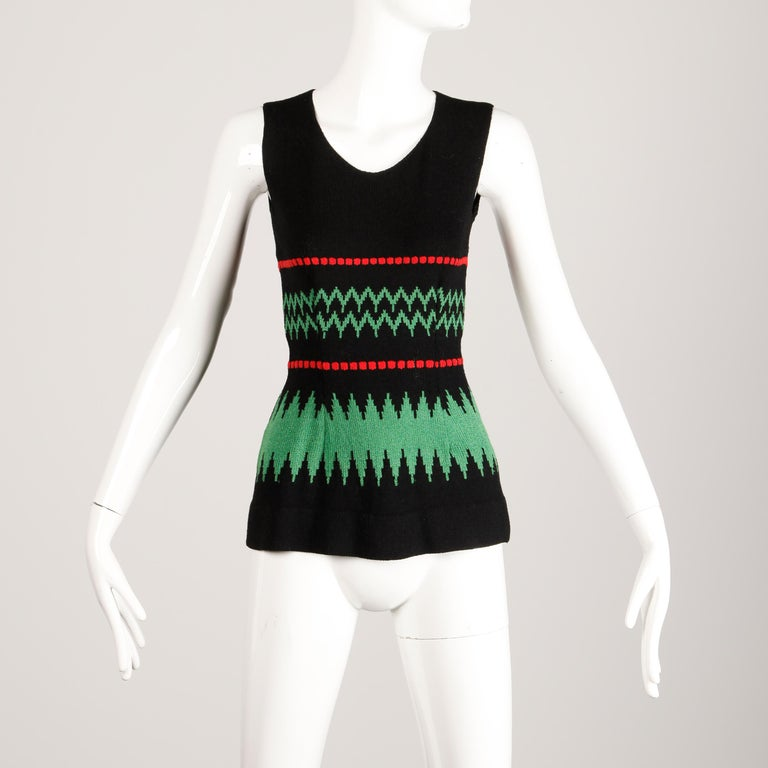 1970s Vintage Adolfo Sweater Top For Sale 2