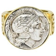 1970's Vintage Ancient Coin 18 Karat Gold Athena & Bull Ring