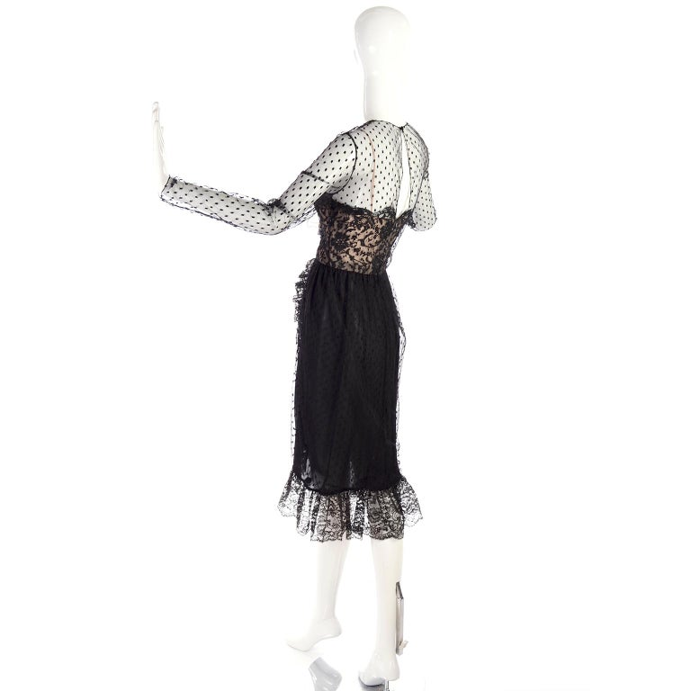 1970s Vintage Bill Blass Black Net & Lace Cocktail Dress For Sale 6