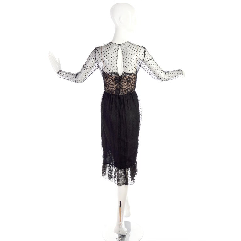 1970s Vintage Bill Blass Black Net & Lace Cocktail Dress For Sale 7