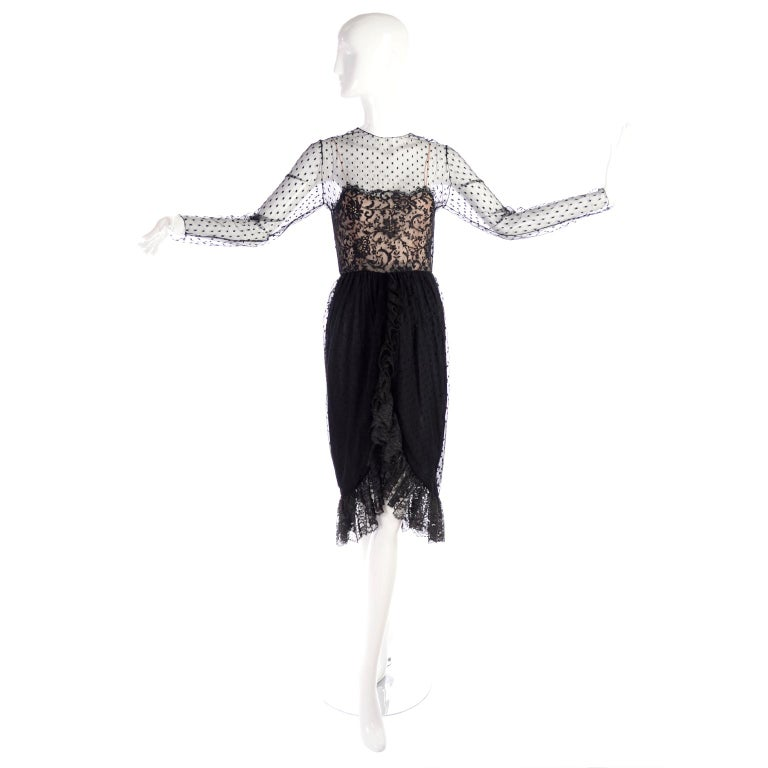 1970s Vintage Bill Blass Black Net & Lace Cocktail Dress In Excellent Condition For Sale In Portland, OR
