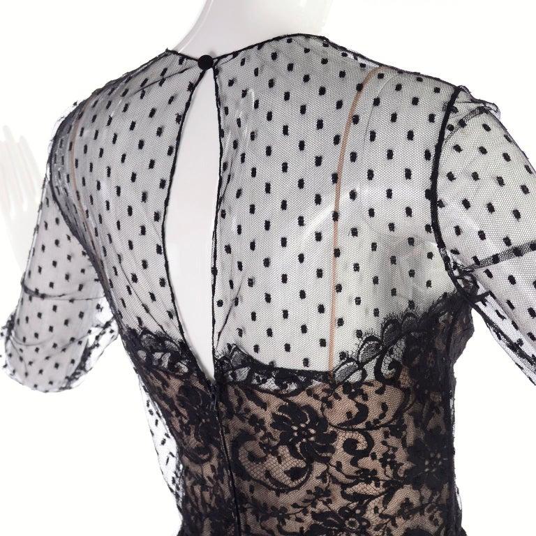 1970s Vintage Bill Blass Black Net & Lace Cocktail Dress For Sale 1