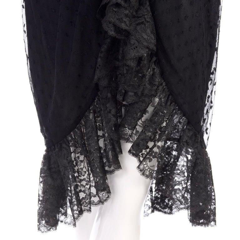 1970s Vintage Bill Blass Black Net & Lace Cocktail Dress For Sale 2