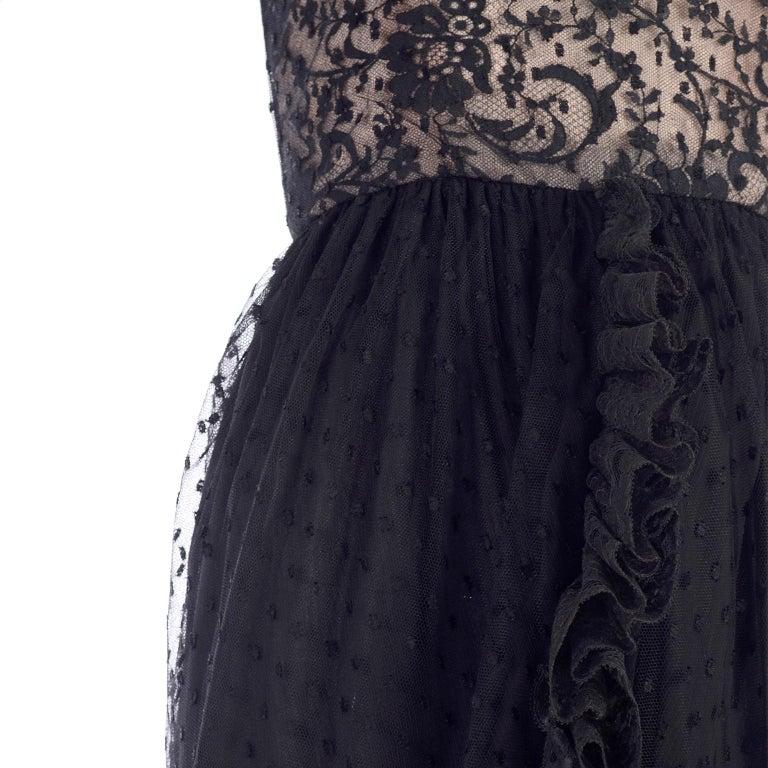 1970s Vintage Bill Blass Black Net & Lace Cocktail Dress For Sale 3
