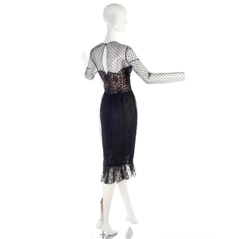 1970s Vintage Bill Blass Black Net & Lace Cocktail Dress For Sale 5