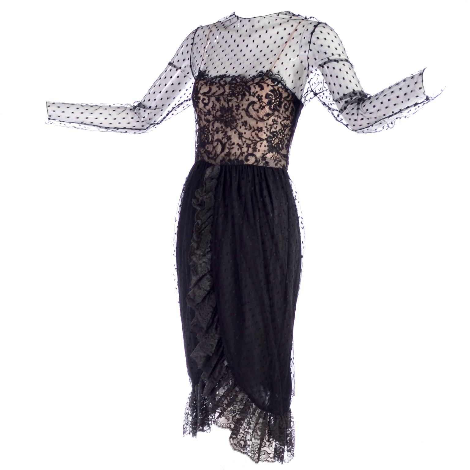 29dc21ecf83 Bill Blass Vintage Dress Abstract Black White Evening Gown Draping For Sale  at 1stdibs