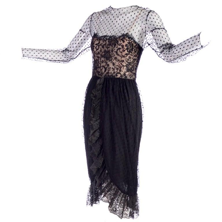 1970s Vintage Bill Blass Black Net & Lace Cocktail Dress For Sale