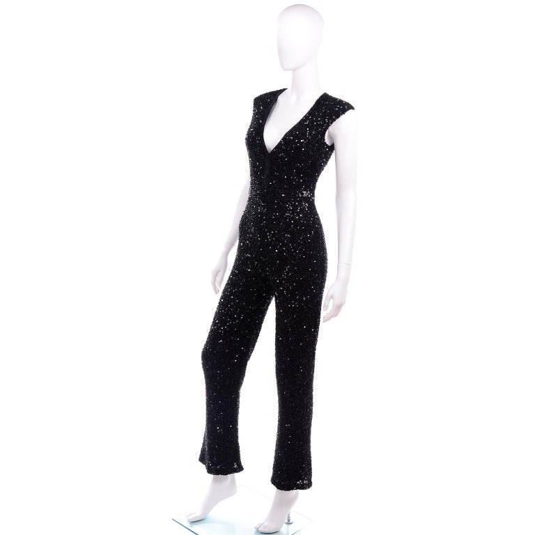 1970s Vintage Black Beaded Jumpsuit With Kick Flare Hem & Sequins In Good Condition For Sale In Portland, OR