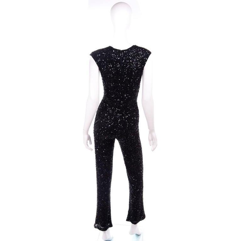 Women's 1970s Vintage Black Beaded Jumpsuit With Kick Flare Hem & Sequins For Sale