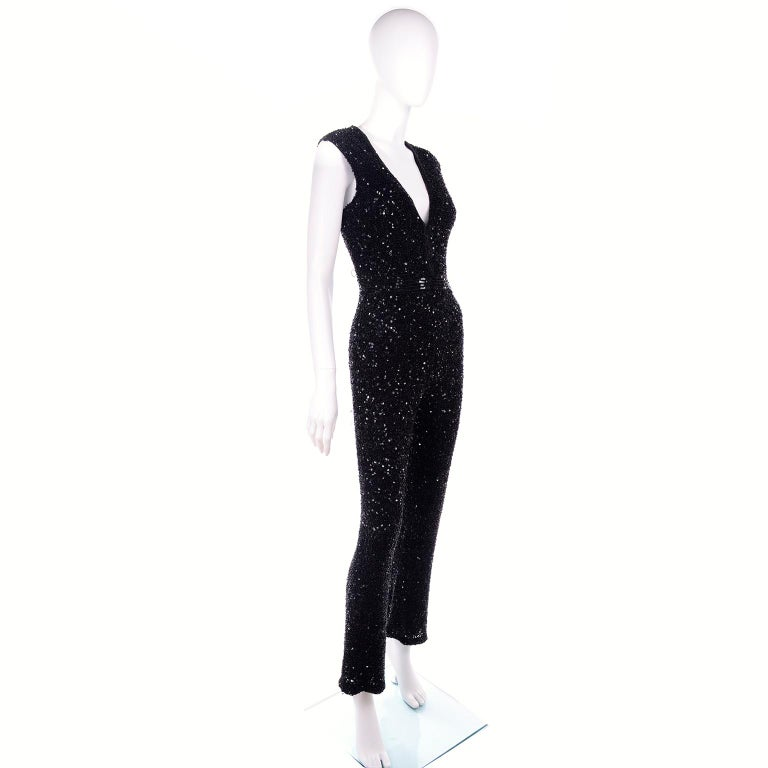 1970s Vintage Black Beaded Jumpsuit With Kick Flare Hem & Sequins For Sale 1