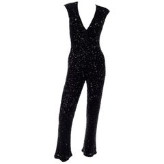 1970s Vintage Black Beaded Jumpsuit With Kick Flare Hem & Sequins