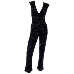 1970s Vintage Black Beaded Jumpsuit With Kick Flare Hem & Sequins