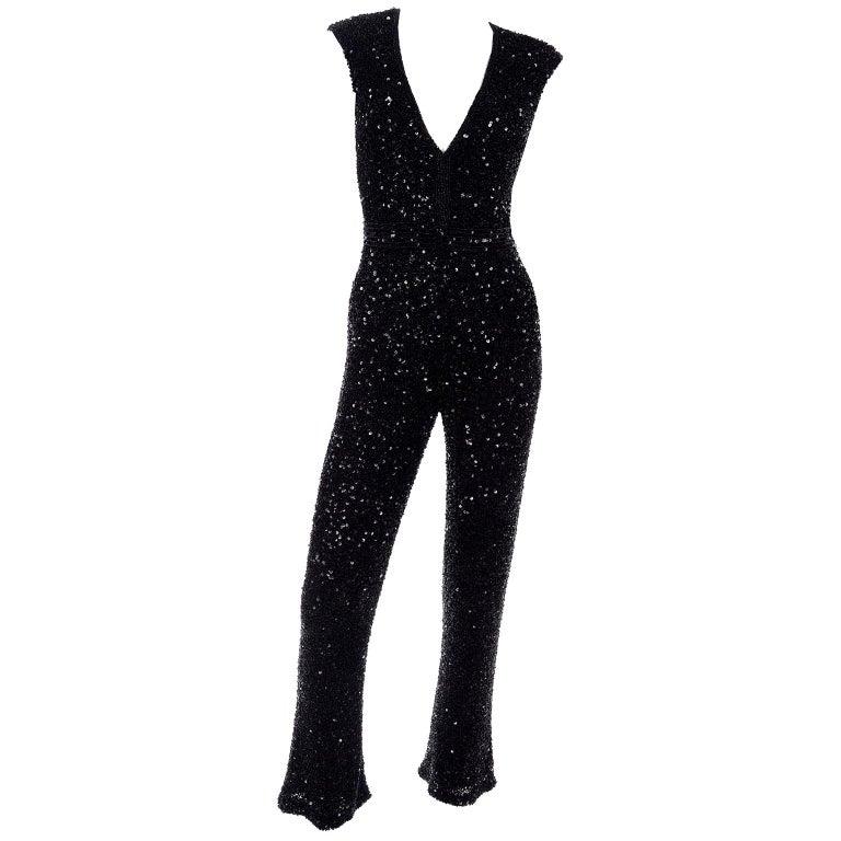 1970s Vintage Black Beaded Jumpsuit With Kick Flare Hem & Sequins For Sale