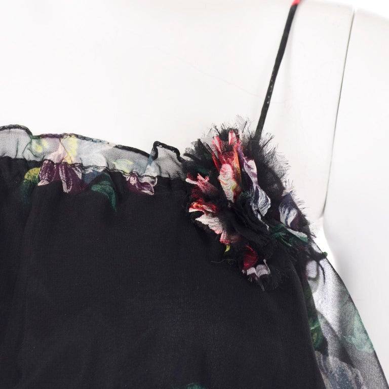 1970s Vintage Black Floral Chiffon 2 Pc Mini Or Long  Dress w Tiers & Ruffles For Sale 8