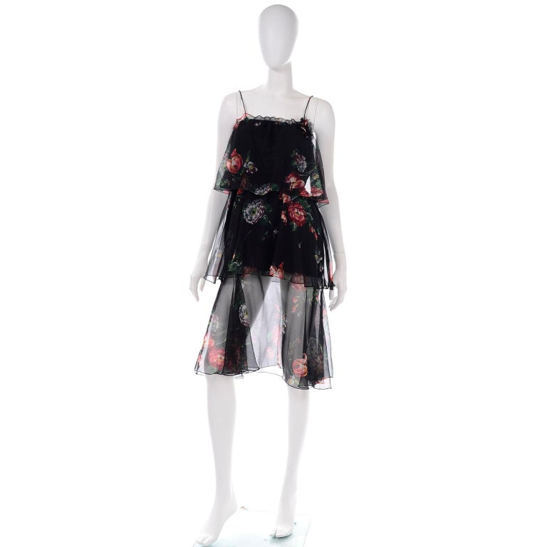 1970s Vintage Black Floral Chiffon 2 Pc Mini Or Long  Dress w Tiers & Ruffles In Excellent Condition For Sale In Portland, OR