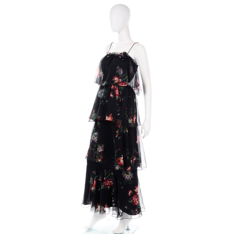 Women's 1970s Vintage Black Floral Chiffon 2 Pc Mini Or Long  Dress w Tiers & Ruffles For Sale