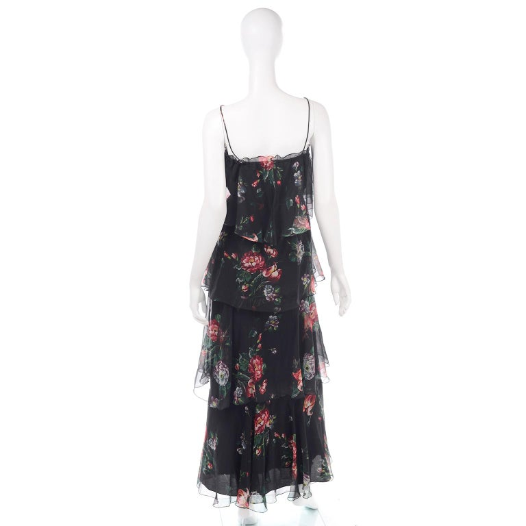 1970s Vintage Black Floral Chiffon 2 Pc Mini Or Long  Dress w Tiers & Ruffles For Sale 1