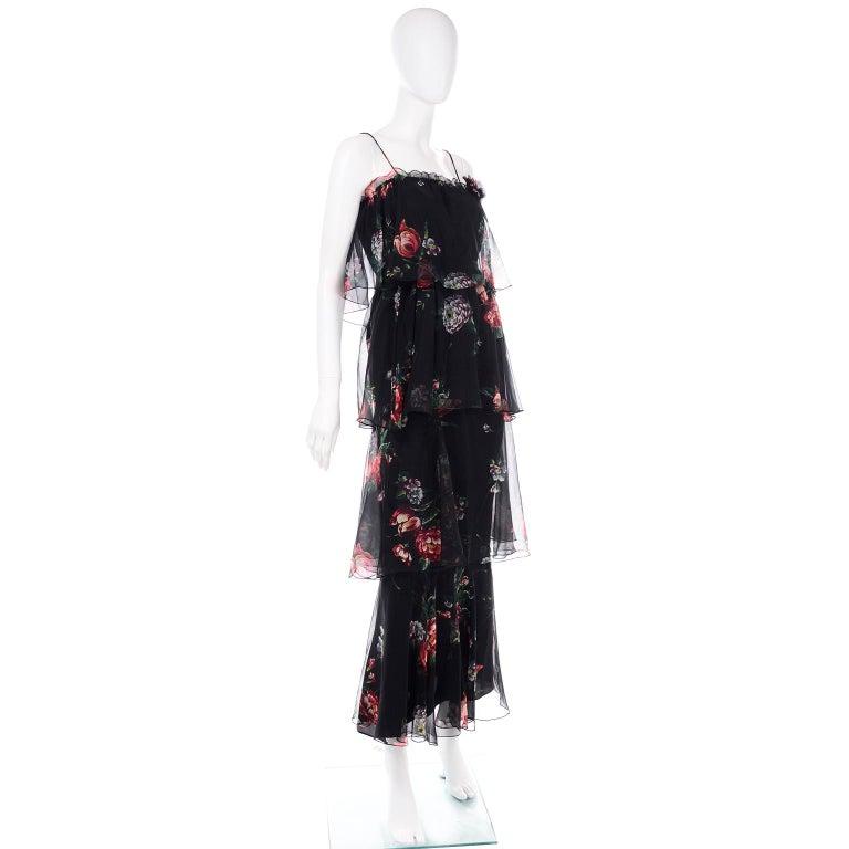 1970s Vintage Black Floral Chiffon 2 Pc Mini Or Long  Dress w Tiers & Ruffles For Sale 2
