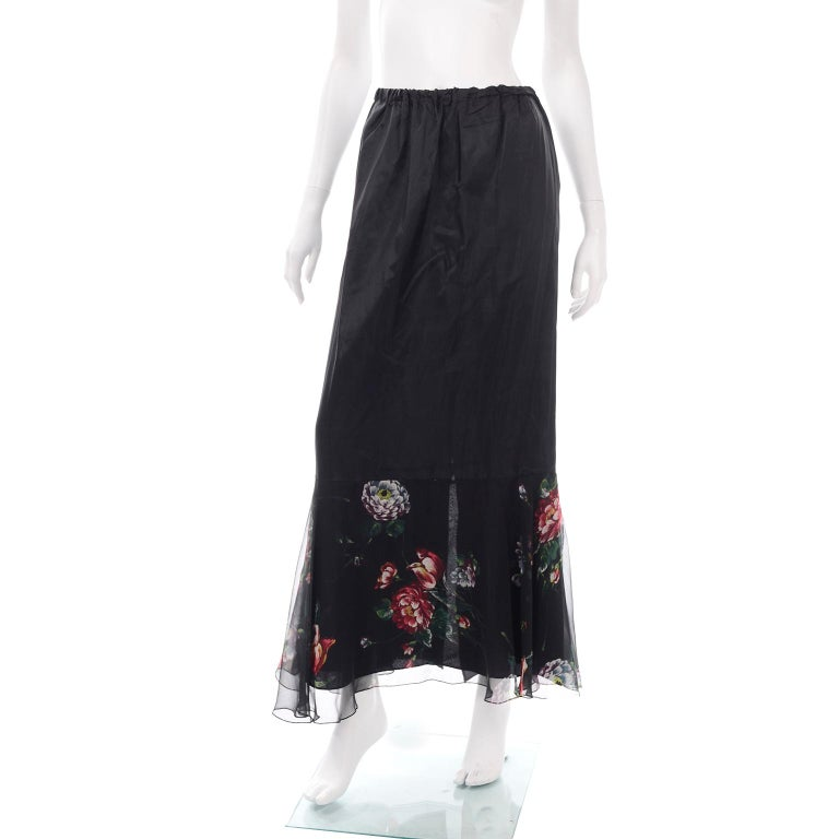 1970s Vintage Black Floral Chiffon 2 Pc Mini Or Long  Dress w Tiers & Ruffles For Sale 3