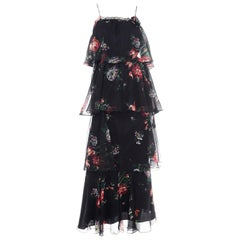 1970s Vintage Black Floral Chiffon 2 Pc Mini Or Long  Dress w Tiers & Ruffles