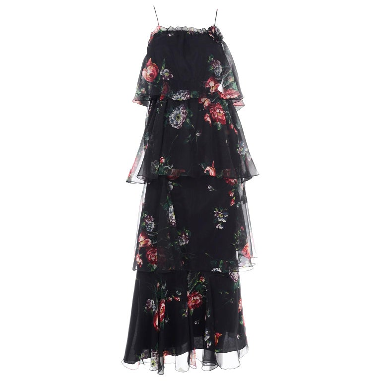 1970s Vintage Black Floral Chiffon 2 Pc Mini Or Long  Dress w Tiers & Ruffles For Sale