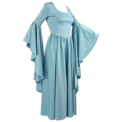 1970s Vintage Blue Jersey Huge Bell Sleeve Boho Dress Evening Gown