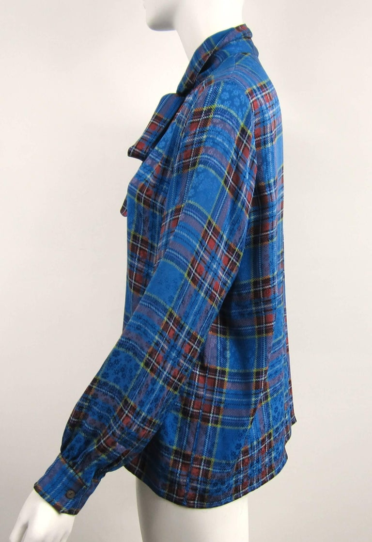 1970s Vintage Blue Plaid Yves Saint Laurent Silk Blouse 1976 Collection YSL  In Good Condition For Sale In Wallkill, NY