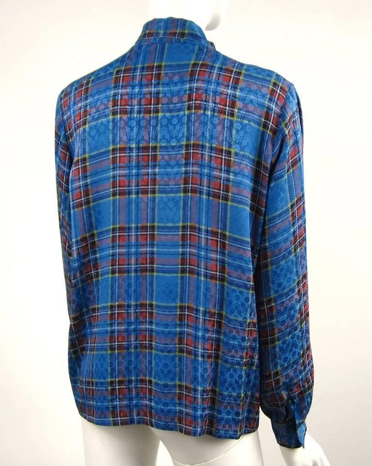 Women's 1970s Vintage Blue Plaid Yves Saint Laurent Silk Blouse 1976 Collection YSL  For Sale