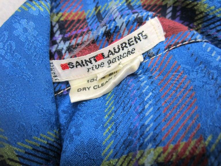 1970s Vintage Blue Plaid Yves Saint Laurent Silk Blouse 1976 Collection YSL  For Sale 1