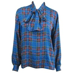 1970s Vintage Blue Plaid Yves Saint Laurent Silk Blouse 1976 Collection YSL
