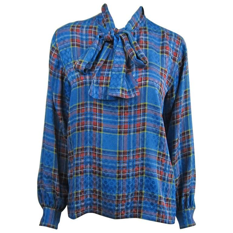 1970s Vintage Blue Plaid Yves Saint Laurent Silk Blouse 1976 Collection YSL  For Sale