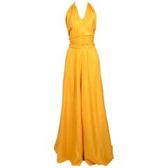 1970s vintage Boutique Grés / Alix Barton gold silk halter top and skirt set.