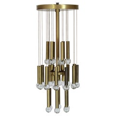 1970s Vintage Brass and Crystal Chandelier by Gaetano Sciolari Designer
