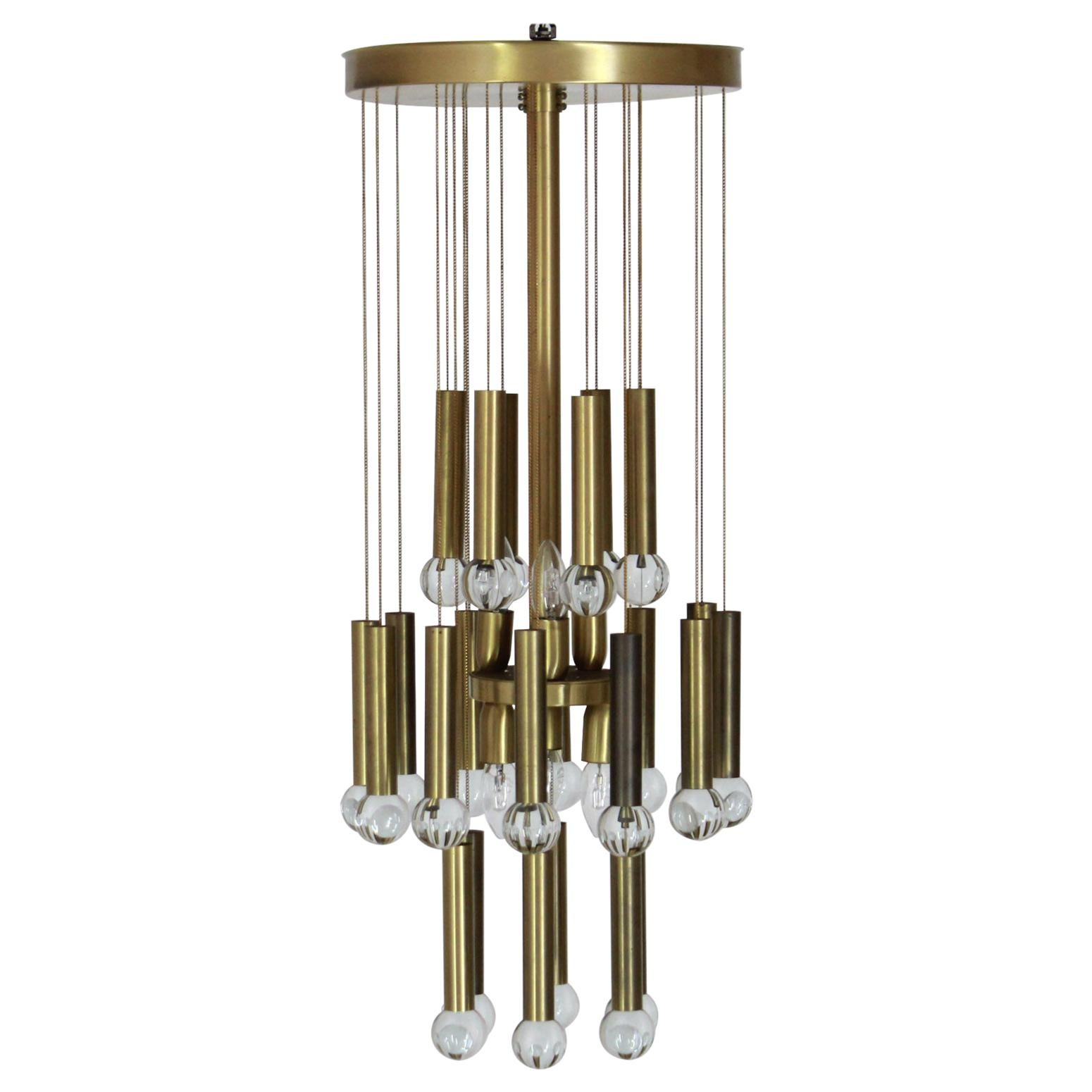 1970s Vintage Brass and Crystal Chandelier by Gaetano Sciolari Designer
