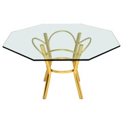 1970s Vintage Brass and Glass Dining Table