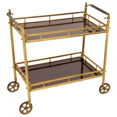 1970s Vintage Brass and Mahogany Drinks Trolley