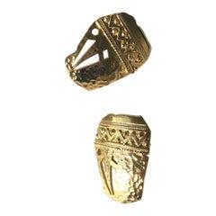 1970s Vintage Brass Aztec Style Earrings