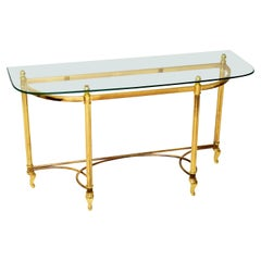 1970s Vintage Brass & Glass Console Table