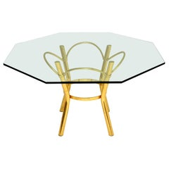 1970's Vintage Brass & Glass Dining Table