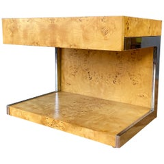 1970s Vintage Burl Wood and Chrome Cantilevered Side Table