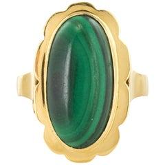 1970s Vintage Cabochon Malachite Ring
