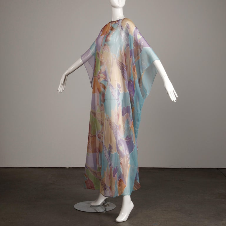 Gray 1970s Vintage Caftan Dress with a Sheer Abstract Cloud Print For Sale