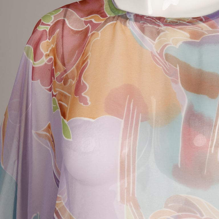 1970s Vintage Caftan Dress with a Sheer Abstract Cloud Print In Excellent Condition For Sale In Sparks, NV