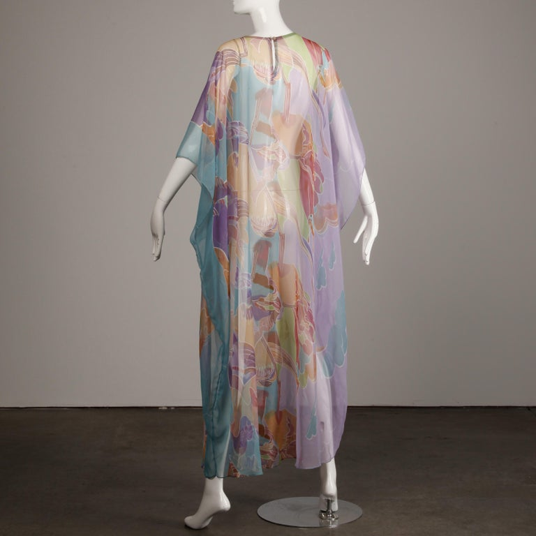 Women's 1970s Vintage Caftan Dress with a Sheer Abstract Cloud Print For Sale