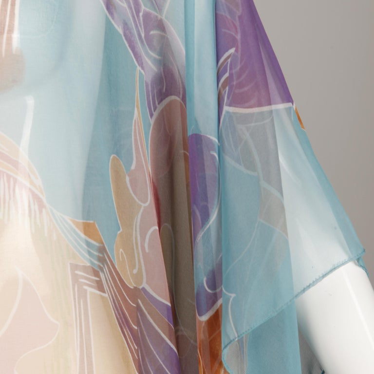 1970s Vintage Caftan Dress with a Sheer Abstract Cloud Print For Sale 1