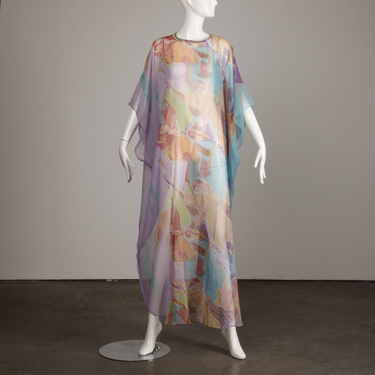 1970s Vintage Caftan Dress with a Sheer Abstract Cloud Print For Sale 2