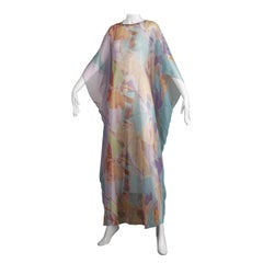 1970s Vintage Caftan Dress with a Sheer Abstract Cloud Print
