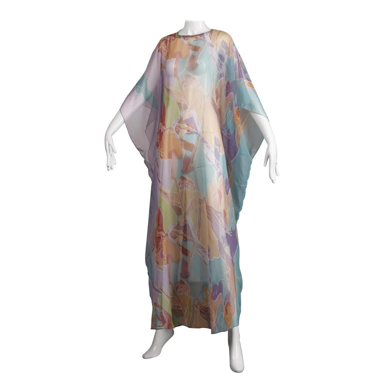1970s Vintage Caftan Dress with a Sheer Abstract Cloud Print For Sale