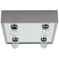 1970s Vintage Ceiling Light with Chromed Structure and Four Light Spots