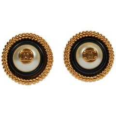 1970's Vintage Chanel Black White Logo Clip Pearl Earrings